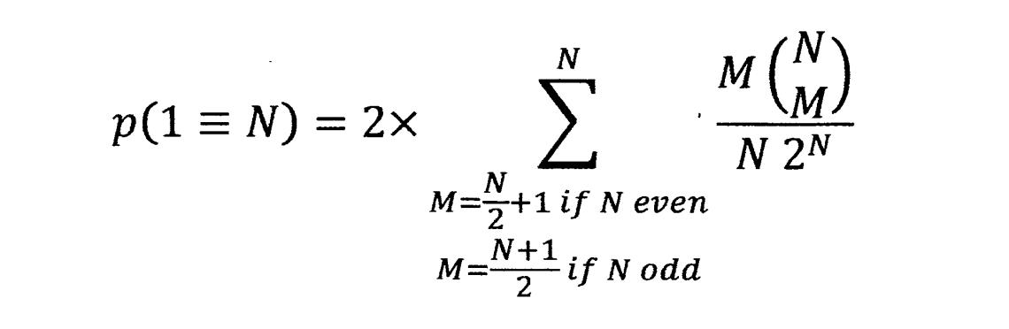 p(1=N) 1