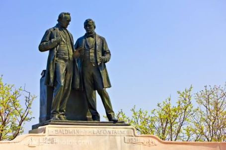 Statue of Baldwin and La Fontaine on Parliament Hill source = https://commons.wikimedia.org/wiki/File:Baldwin-Lafontaine_April_2010.jpg
