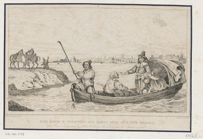 King James II throwing his royal seal into the Thames = Le Roi Jacques II jettant dans la Tamise le sceau royale Print by Dunaime (1830?) source = http://www.polona.pl/dlibra/doccontent?id=9780&from=FBC