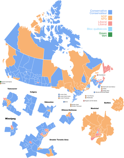 "2011 Federal Election results source = ""Canada fed election 2011 results by riding"" by Kurykh - Own work. Licensed under CC BY-SA 3.0 via Wikimedia Commons - https://commons.wikimedia.org/wiki/File:Canada_fed_election_2011_results_by_riding.svg#/media/File:Canada_fed_election_2011_results_by_riding.svg"