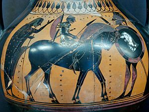 Fully armed Hippeus. Attic black-figure amphora, 550–540 BC (Louvre) source = https://en.wikipedia.org/wiki/Hippeis