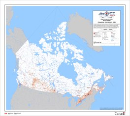 Atlas of Canada population distribution map source = http://geogratis.gc.ca/api/en/nrcan-rncan/ess-sst/e83ac2cf-8893-11e0-a3ad-6cf049291510#distribution About 75% of Canadians live in the red-coloured areas, about 24% of Canadians live in the orange-coloured areas, and about 1% of Canadians live in the white-coloured areas.
